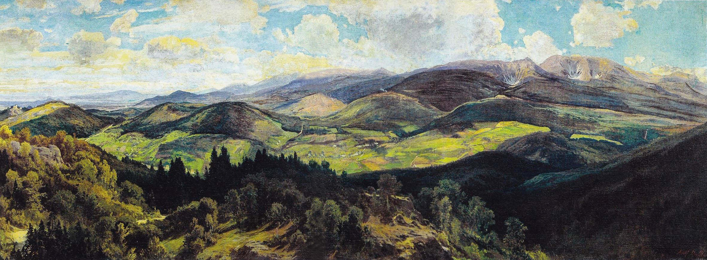 Szkic olejny (321 cm x 109 cm) do panoramy Karkonoszy, 1879, autor Adolf Dressler (1833-1881) w zbiorach Muzeum Karkonoskiego w Jeleniej Górze