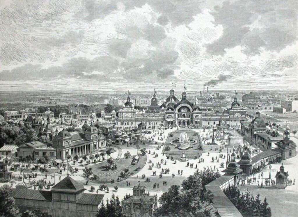 Widok na Śląskią Wystawę Rzemiosła i Przemysłu we Wrocławiu w latach 1881 - 1882